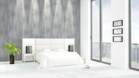 Conception intérieure de grenier style minimal blanc de tout neuf de chambre à coucher avec le mur de copyspace et vue hors de fe Photographie stock libre de droits