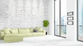 Conception intérieure de grenier style minimal blanc de tout neuf de chambre à coucher avec le mur de copyspace et vue hors de fe Image libre de droits