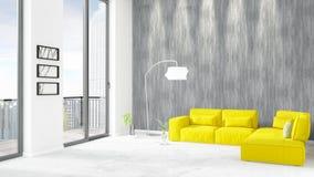 Conception intérieure de grenier style minimal blanc de tout neuf de chambre à coucher avec le mur de copyspace et vue hors de fe Photos stock