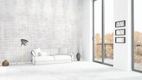 Conception intérieure de grenier style minimal blanc de tout neuf de chambre à coucher avec le mur de copyspace et vue hors de fe Photo libre de droits