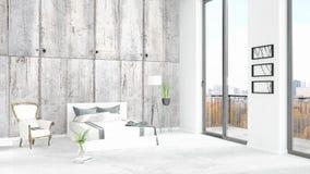 Conception intérieure de grenier style minimal blanc de tout neuf de chambre à coucher avec le mur de copyspace et vue hors de fe Images libres de droits