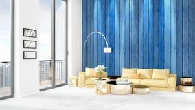 Conception intérieure de grenier style minimal blanc de tout neuf de chambre à coucher avec le mur de copyspace et vue hors de fe Photo stock