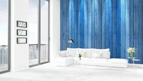 Conception intérieure de grenier style minimal blanc de tout neuf de chambre à coucher avec le mur de copyspace et vue hors de fe Photos libres de droits