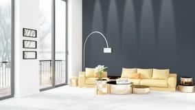Conception intérieure de grenier style minimal blanc de tout neuf de chambre à coucher avec le mur de copyspace et vue hors de fe Images stock