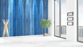 Conception intérieure de grenier style minimal blanc de tout neuf de chambre à coucher avec le mur de copyspace et vue hors de fe Photographie stock