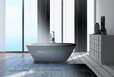 conception intérieure de la salle de bains 3D à la maison architecturale Photos libres de droits