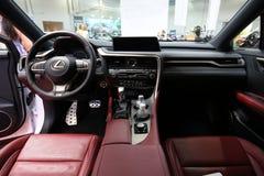 Conception intérieure de Lexus NX 300h montré à la 3ème édition de l'EXPOSITION de MOTO à Cracovie Pologne Images libres de droits