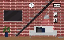 Conception intérieure de maison de grenier de célibataire Photographie stock libre de droits