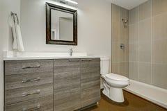 Conception intérieure de nouvelle salle de bains grise Photographie stock libre de droits