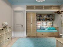 Conception intérieure de pièce du ` s d'enfants pour le petit voyageur Photos stock