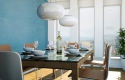 Conception intérieure de salle à manger avec le mur bleu Photo libre de droits