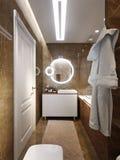 Conception intérieure de salle de bains moderne avec Brown et tuile de marbre beige Photographie stock libre de droits