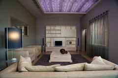 Conception intérieure de salle de séjour élégante et de luxe. Photographie stock libre de droits
