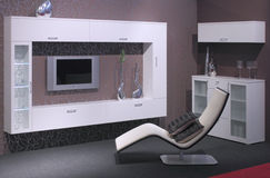 Conception intérieure de salle de séjour moderne. Photographie stock libre de droits