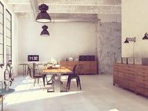 Conception intérieure de salle de séjour moderne rendu 3d Photos libres de droits