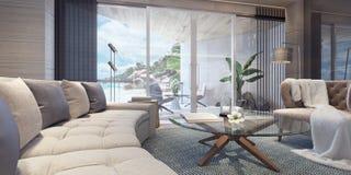 Conception intérieure de salle de séjour moderne illustration libre de droits