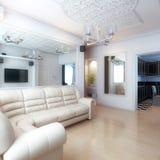 Conception intérieure de salon avec le sofa de cuir blanc Photographie stock libre de droits