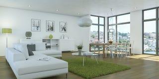 Conception intérieure de salon blanc moderne illustration stock