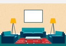 Conception intérieure de salon dans le style plat comprenant les fauteuils, le sofa, la table en verre, la lampe et le cadre de t Photographie stock