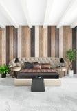 Conception intérieure de style minimal blanc de chambre à coucher avec le mur en bois et le sofa foncé rendu 3d illustration 3D Images stock