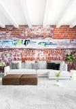 Conception intérieure de style minimal blanc de chambre à coucher avec le mur en bois et le sofa gris rendu 3d illustration 3D Image libre de droits