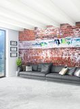 Conception intérieure de style minimal blanc de chambre à coucher avec le mur en bois et le sofa gris rendu 3d illustration 3D Photo stock