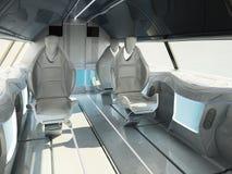 Conception intérieure futuriste de la zone de passager d'un avion supersonique de classe d'affaires illustration stock