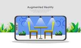 Conception intérieure isométrique liée au dispositif de smartphone, calibre augmenté de site Web de concept de réalité illustration stock
