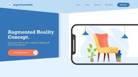 Conception intérieure isométrique liée au dispositif de smartphone, concept augmenté de réalité illustration de vecteur