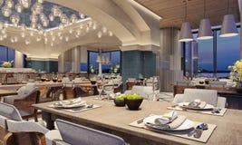 Conception intérieure moderne d'un restaurant, style arabe avec les poutres arquées et plafonnier de bougie, scène de nuit, fleur photographie stock libre de droits