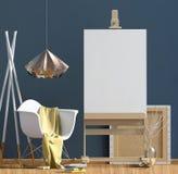 Conception intérieure moderne dans le style scandinave avec la chaise et la facilité Photo stock