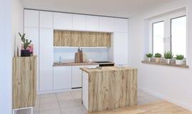 Conception intérieure moderne de la cuisine en bois blanche, 3d illustration, rendu 3d illustration stock