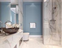 Conception intérieure moderne de salle de bains bleue illustration de vecteur