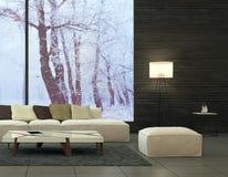 Conception intérieure moderne de salle de séjour Images libres de droits