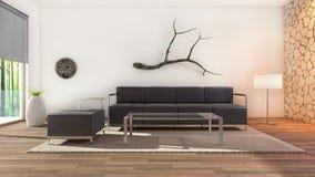 Conception intérieure moderne de salle de séjour Photographie stock libre de droits