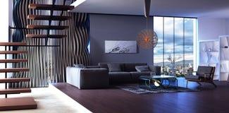 Conception intérieure moderne de salle de séjour illustration stock