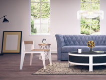 Conception intérieure moderne de salle de séjour Images stock