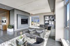Conception intérieure moderne de salon dans des couleurs grises Image stock