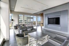 Conception intérieure moderne de salon dans des couleurs grises Photo stock