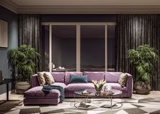 Conception intérieure moderne de salon, horizon de ville de Taïwan, Taïpeh images stock