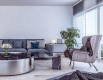 Conception intérieure moderne de salon italien de style illustration libre de droits