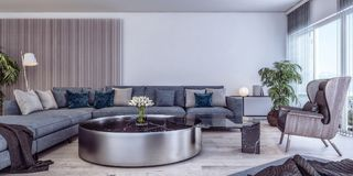 Conception intérieure moderne de salon italien de style illustration stock