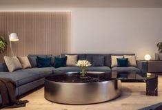 Conception intérieure moderne de salon italien de style, scène de nuit photo stock