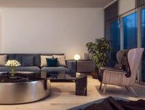 Conception intérieure moderne de salon italien de style, scène de nuit photo libre de droits