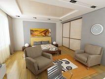 Conception intérieure moderne (l'appartement 3d de privat rendent Image stock