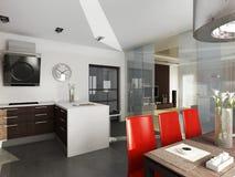 Conception intérieure moderne (l'appartement 3d de privat rendent Images libres de droits