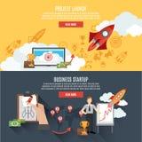 Conception interactive de page Web de bannières de lancement de Rocket Photo libre de droits