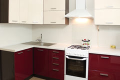 Conception intérieure de cuisine domestique Photographie stock