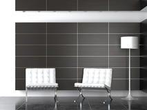 Conception intérieure de réception moderne de B&W Photos stock