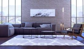 Conception intérieure moderne de salle de séjour Image stock